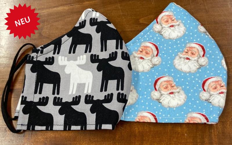 Stoffmasken mit Weihnachtssujets